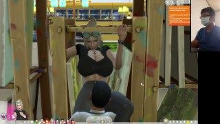 The Sims 4:6 people having intense sex on an easel